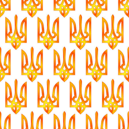 Seamless pattern of the gold coat of arms of Ukraine