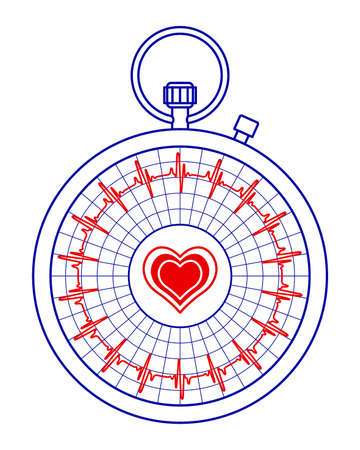 Illustration of the abstract stopwatch pulse cardiogram monitor