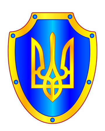 Illustration of the gold trident on shield. Coat of arms of Ukraine