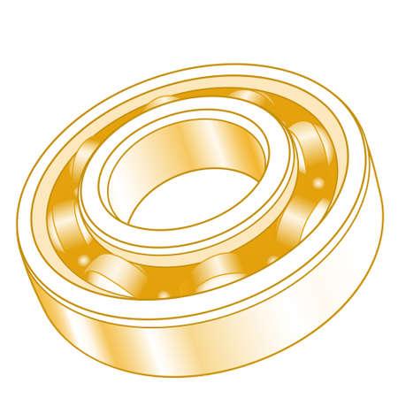 Illustration of the abstract gold volumetric ball bearing Ilustracja