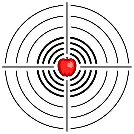 Illustration of abstract target with apple