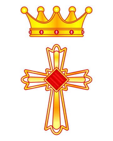 Illustration of the gold christian cross and crown