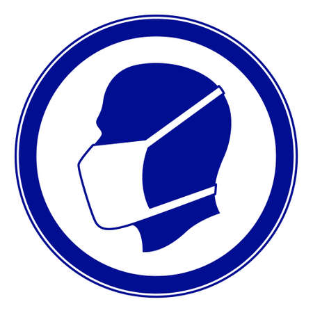 Illustration of the mandatory warning sign with human profile head in face mask