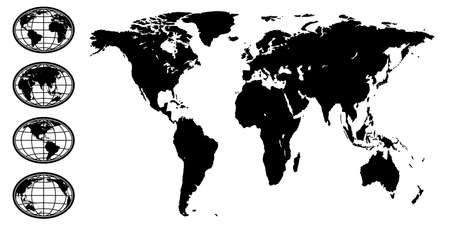 Illustration of the abstract black silhouette globe set and world map.