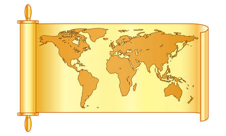 Illustration of the abstract vintage world map on scroll.