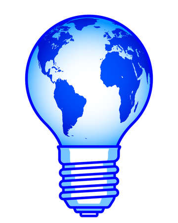 Concept illustration of the globe and light bulb.