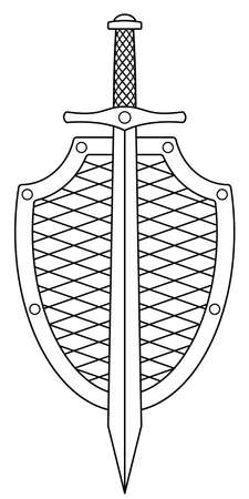 Illustration of the contour shield and sword cold steel