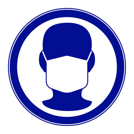 Illustration of the mandatory warning sign with human full face head in face mask
