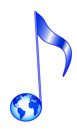 Illustration of the concept earth globe as musical note symbol. Elements of this image furnished by NASA. Source of map:  http://visibleearth.nasa.gov/view.php?id=74518