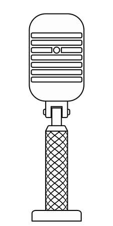 Illustration of the abstract contour vintage microphone Ilustracja