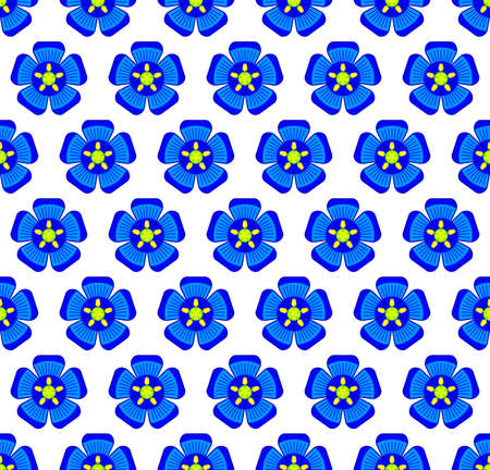 Seamless pattern of the flax flower heads