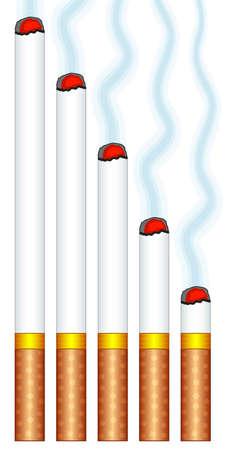 Illustration of the smoking cigarettes set