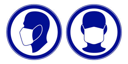 Illustration of the mandatory warning signs with human faces in face mask