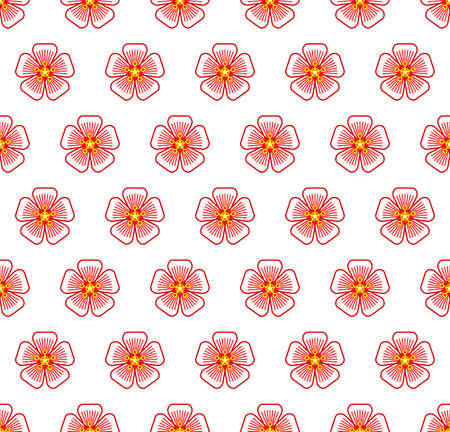 Seamless symmetric pattern of the abstract contour flowers