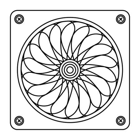 Illustration of contour computer spinning fan 일러스트