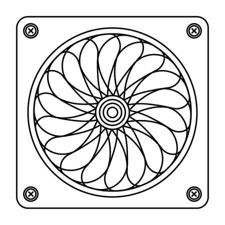 Illustration of contour computer spinning fan Vettoriali