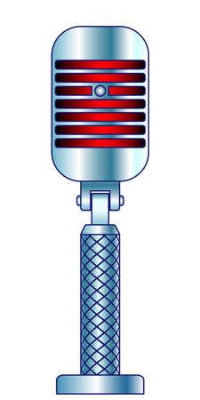 Illustration of the abstract vintage microphone Ilustracja