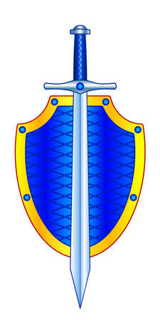 Illustration of the shield and sword cold steel Ilustracja
