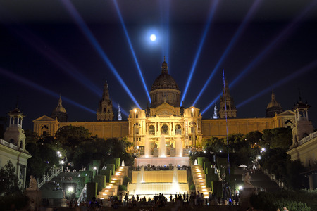 spain: National Art Museum of Catalonia MNAC in Barcelona at night