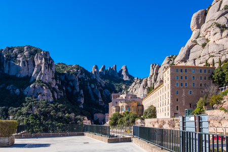Montserrat monastery on mountain in Barcelona, ??Catalonia.