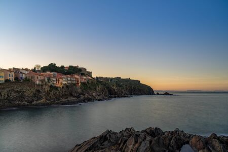 Old town of Collioure, France, a popular resort town on Mediterranean sea