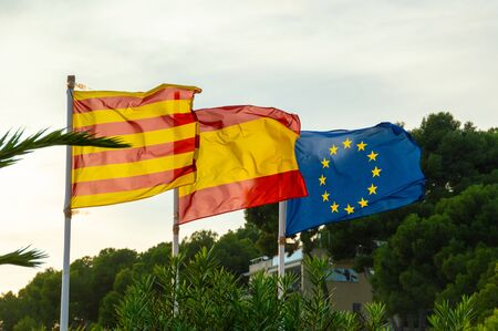 The national flag of Catalonia, Spain and Europe