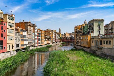 Cityscape of Girona in Catalonia, Spain