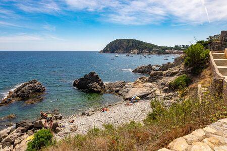 Krajobraz plaża Fosca w Palamos, Costa brava, Katalonia, Hiszpania Zdjęcie Seryjne