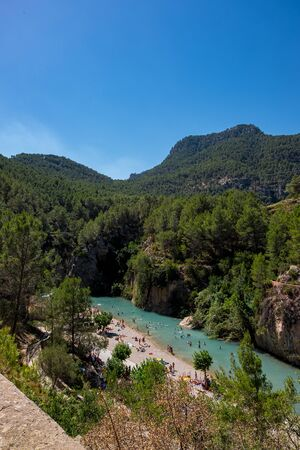 Montanejos river with thermal water in Castellon, Spain Stock Photo