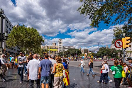 Catalonia square in Barcelona on National Day of Catalonia