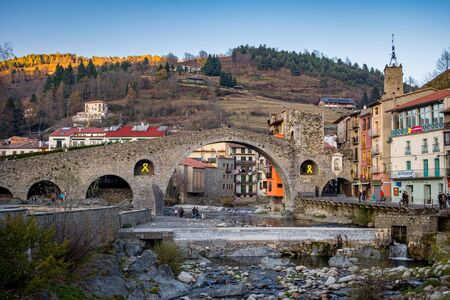 Medieval bridge in Camprodon town, Gerona, Spain