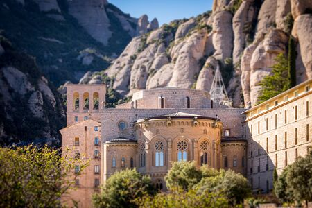 Montserrat monastery on mountain in Barcelona, Catalonia