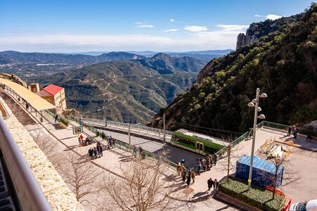 Cremallera train, Montserrat monastery on mountain in Barcelona, Catalonia. Stock Photo
