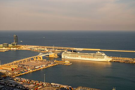 Harbour view from Montjuic in Barcelona, Catalonia, Spain Zdjęcie Seryjne