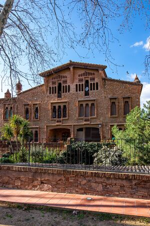 Ca Ordal house, Colonia Guell in Barcelona, Catalonia, Spain Stock Photo