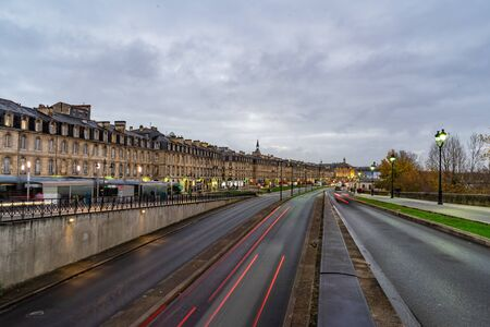 Street view in Bordeaux city, France. Banque d'images