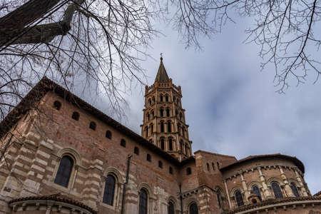 Basilique Saint-Sernin de Toulouse in France. 免版税图像