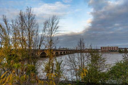 Pont de Pierre in Bordeaux, France.