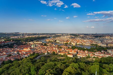 Aerial view of Prague Czech Republic from Petrin Hill observation Tower