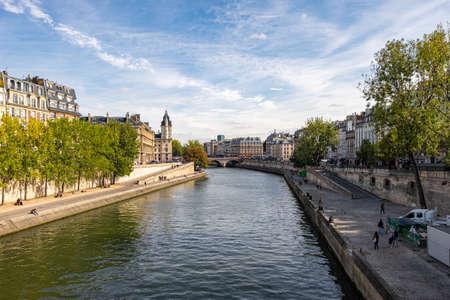 View at Saint Michel bridge in Paris, France