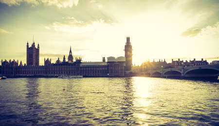 Big Ben, Houses of Parliament and Westminster bridge in London, UK.