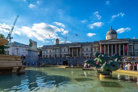 The National Gallery, Trafalgar Square in London, UK.