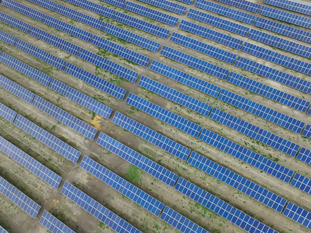Renewable sun energy, industrial landscape