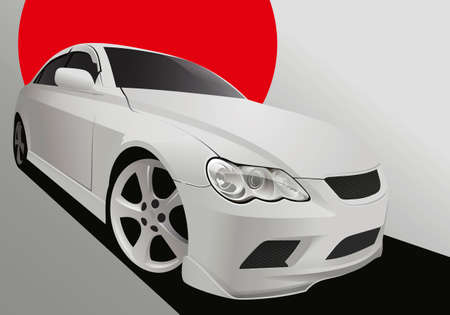 Vector illustration of a tuning car in body kit