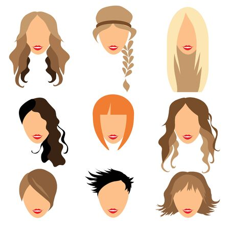 styling: Set of woman hair styling flat Illustration