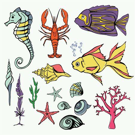alga: Underwater world Big Set Hand Drawn Illustration With Fish Cancer Seahorse Coral Shells Alga