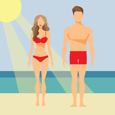 Mann und Frau Flach Illustration Badeanzug Badehose