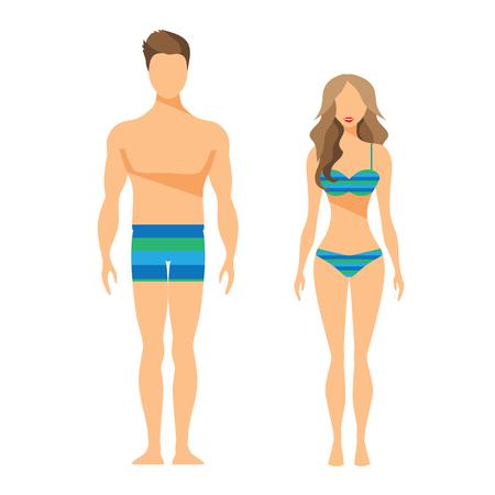 Mann und Frau Flach Illustration Badeanzug Badehose Vektorgrafik