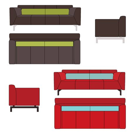 front side: Sofa Set Flat Illustration Top Front Side View Illustration