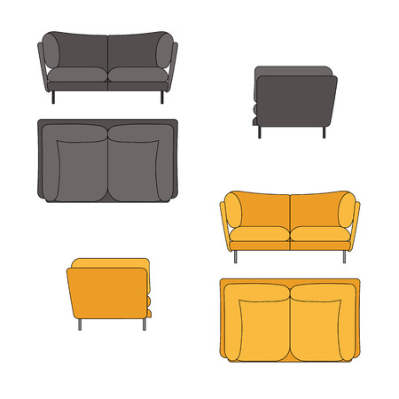 sofa set: Sofa Set Flat Illustration Top Front Side View Illustration
